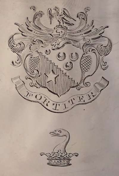 Detailed arms of Allen showing crescent for 2nd son