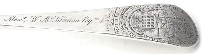 The engraving of McKinnon's name on the spoon