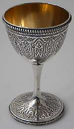 Victorian egg cup engraved body beaded borders Edinburgh 1879 possibly William Marshall