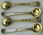 Four Victorian Aesthetic movement saltspoons London 1881 Charles Edwards